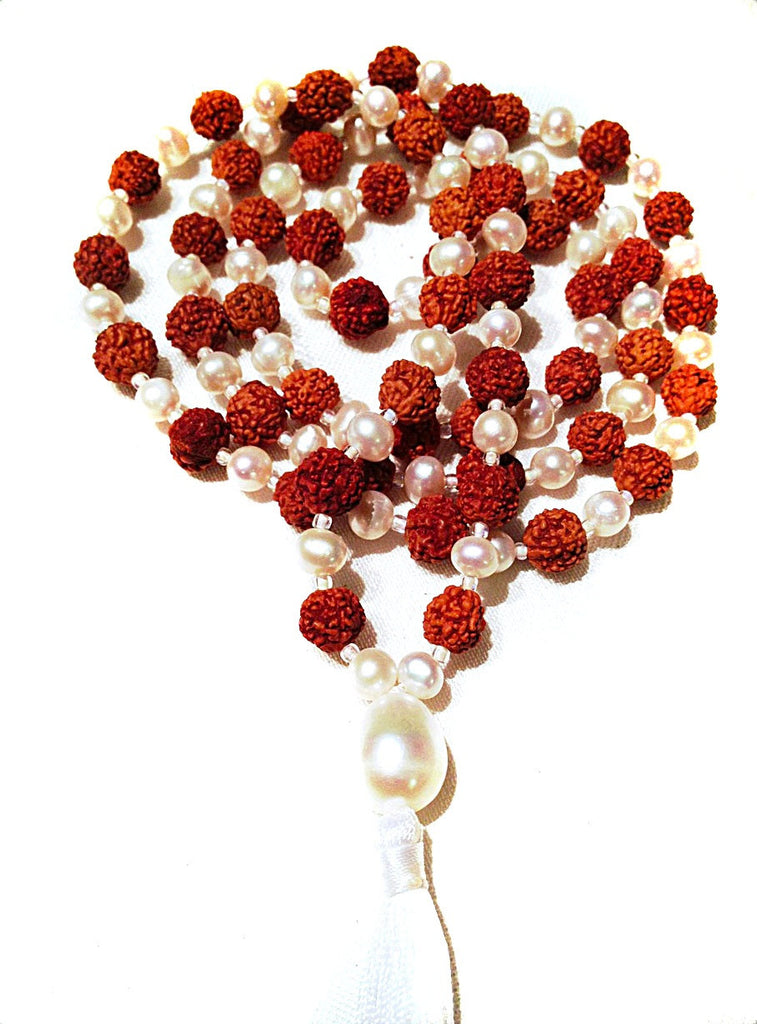 Mala beads yoga necklace with pearl and rudraksha