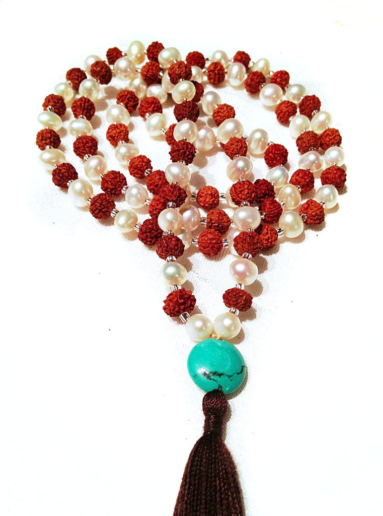 Mala beads yoga necklace with pearl, rudraksha and turquoise
