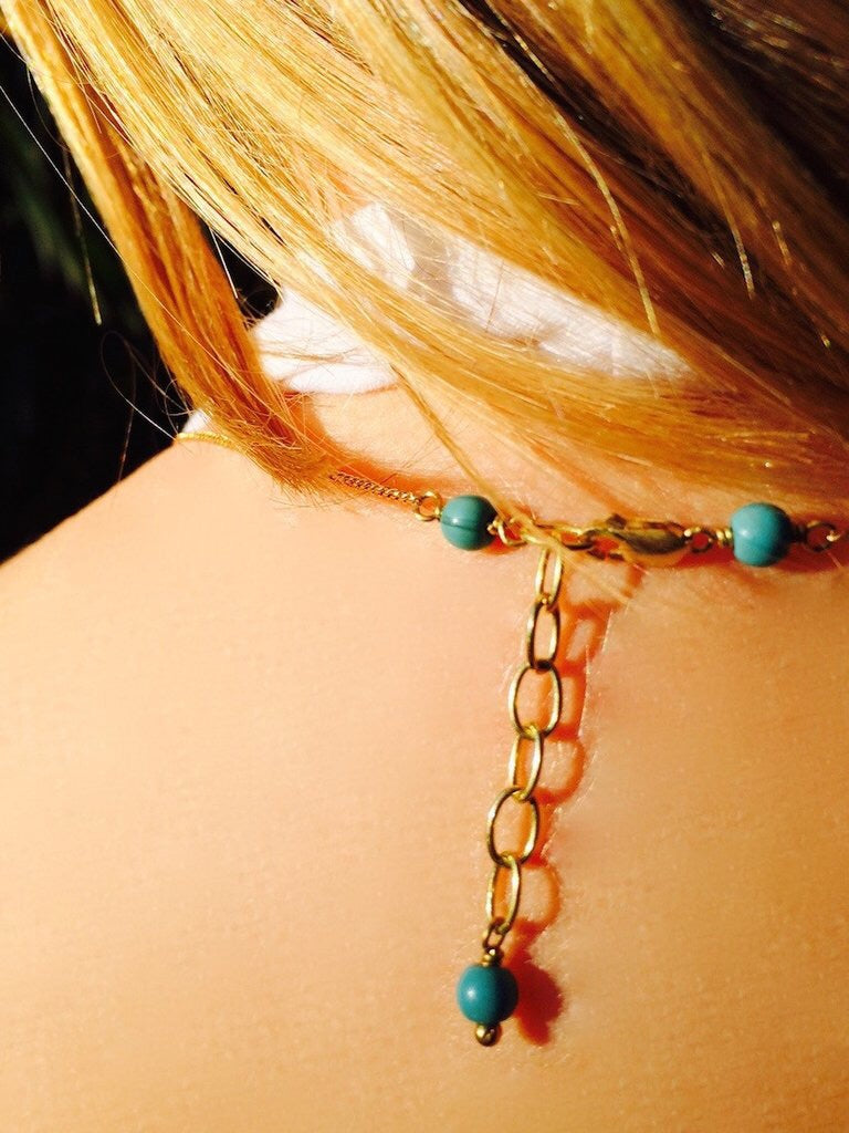 Brass chain with Turquoise