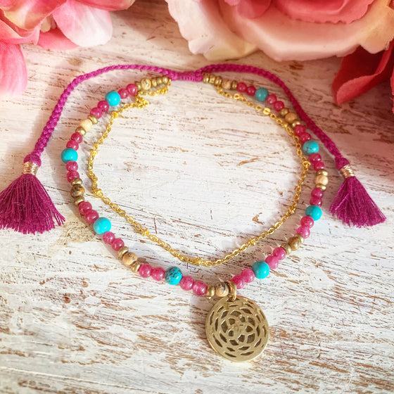 Rose Of Venus Boho Gemstone Anklet, turquoise, ruby quartz, jasper
