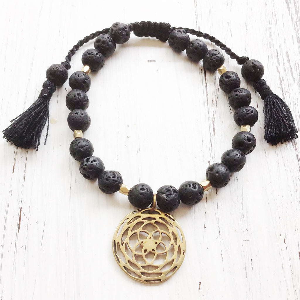Lava Mala Beads Yoga Bracelet Brass Rose Of Venus sacred geometry charm