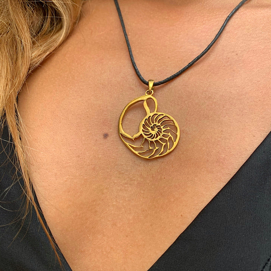 Nautilus Shell Sacred Geometry Brass Pendant Necklace