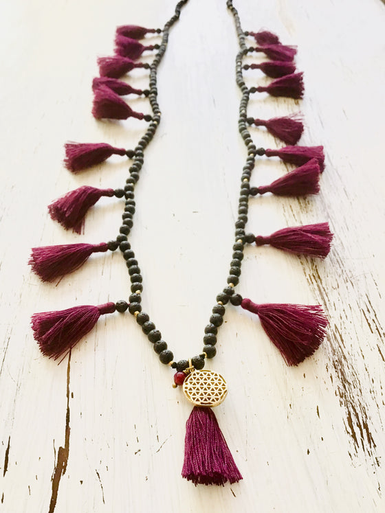 Lava Boho tassel Necklace with Flower Of Life charm and Ruby