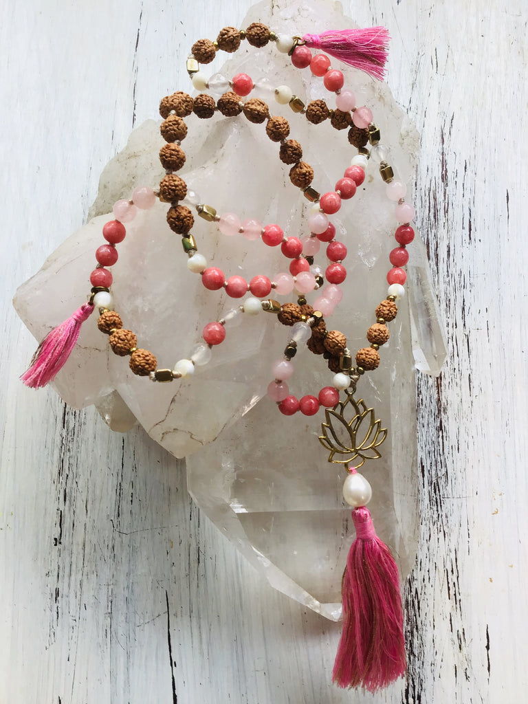 Lakshmi Lotus Mala Beads, Rose quartz, Rhodonite, pearl, rudraksha yoga necklace