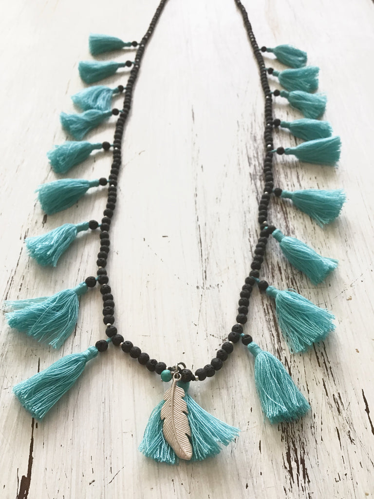 Lava Boho tassel Necklace with Feather charm and Turquoise