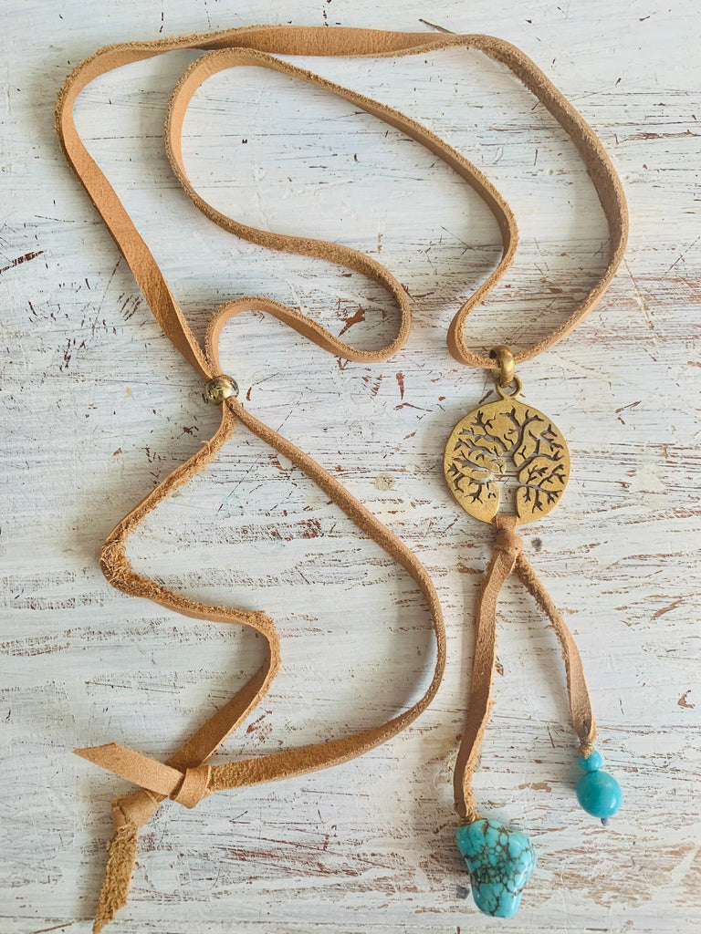Brass Tree Of Life & Turquoise Boho Suede necklace - Heart Mala