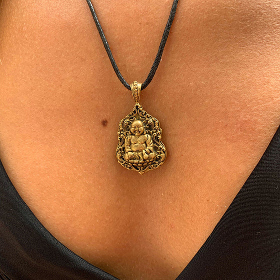 Laughing Buddha in lotus flower brass pendant necklace