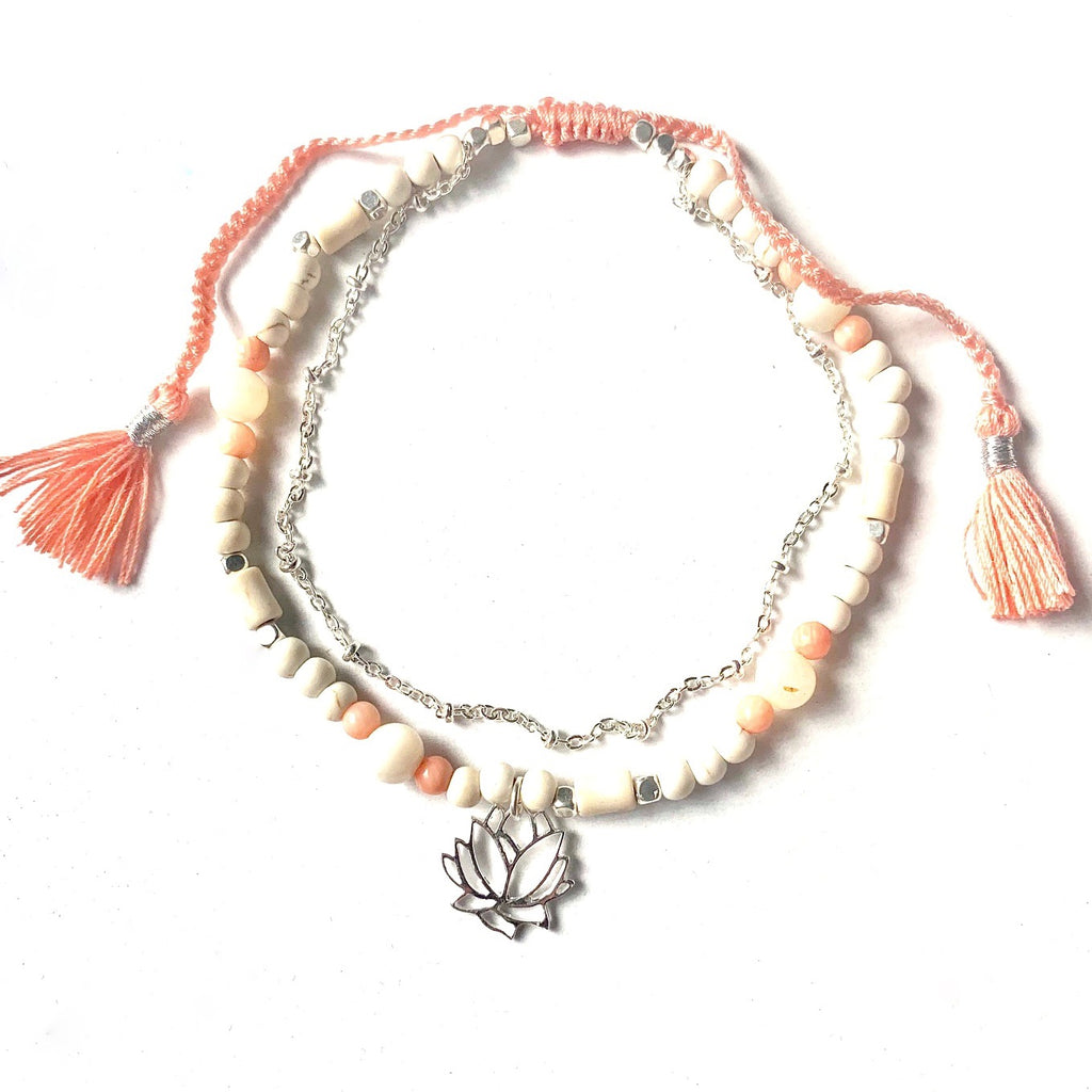 Lotus Boho Ankle handmade gemstones pink coral, mother of pearl, howlite