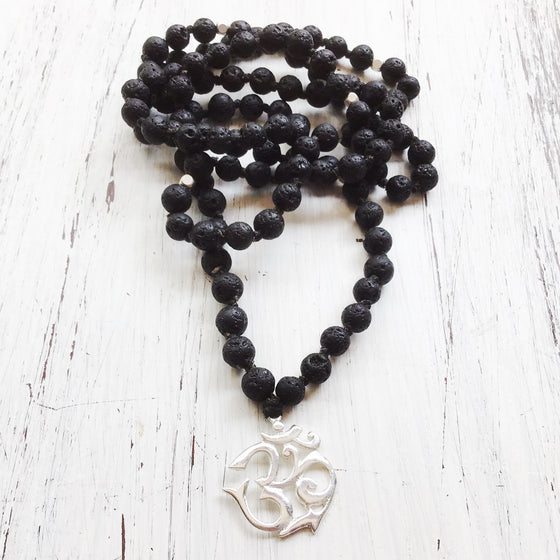 OM Lava Mala Prayer Beads necklace