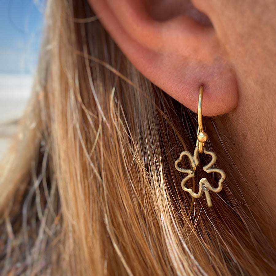 Four Leaf Clover Lucky Brass Earrings