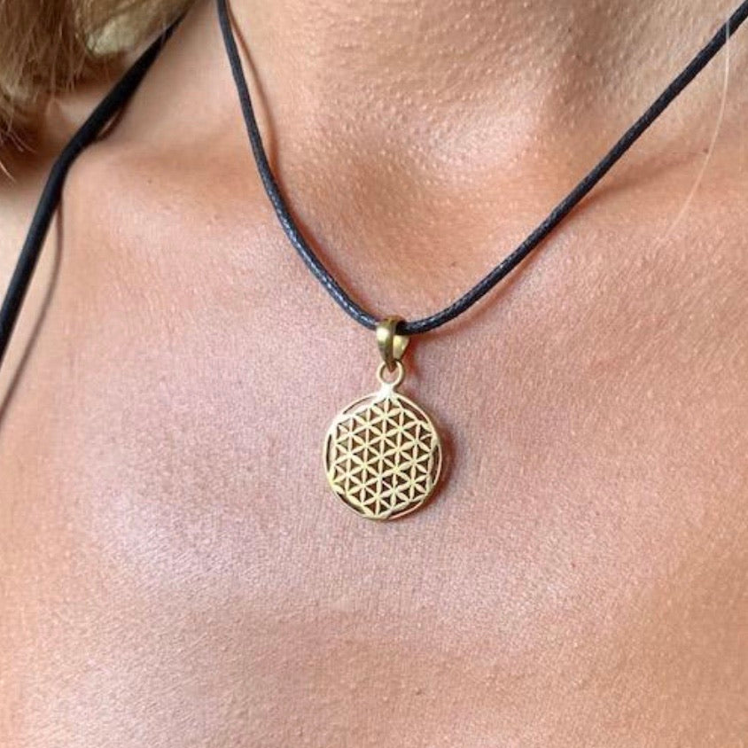 Flower Of Life Brass pendant small sacred geometry necklace