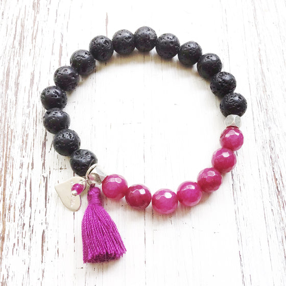 Lava and Ruby Quartz Yoga Bracelet essential oil diffuser jewellery