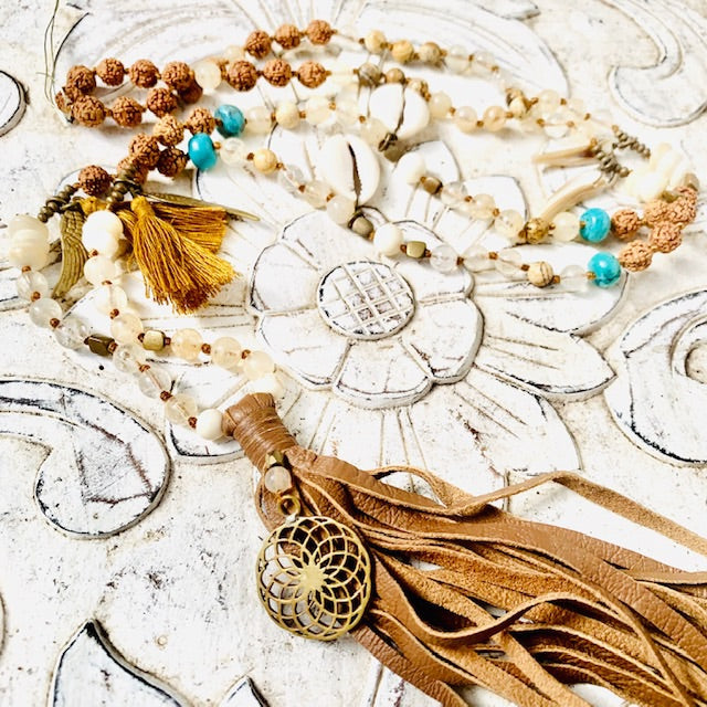 Sunflower sacred geometry Boho jewellery Mala Beads Yoga Necklace, Turquoise, Citrine, Jasper, Rudraksha