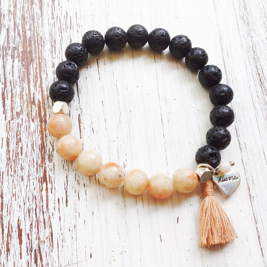 Lava and pink Rhodonite Yoga Bracelet essential oil diffuser jewellery