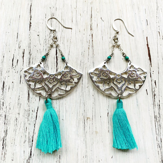 Silver Boho Earrings with Turquoise gemstones