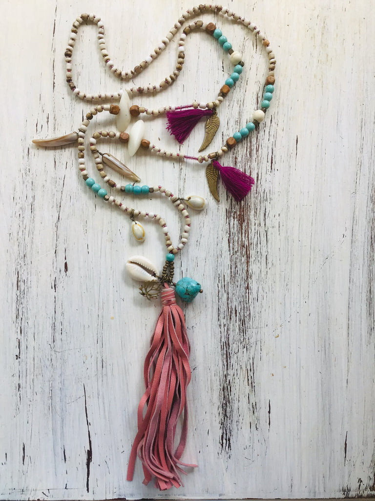 Lotus Mala Boho Necklace Turquoise, Howlite, wooden beads