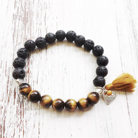 Lava and Tigers Eye Yoga Bracelet essential oil diffuser jewellery