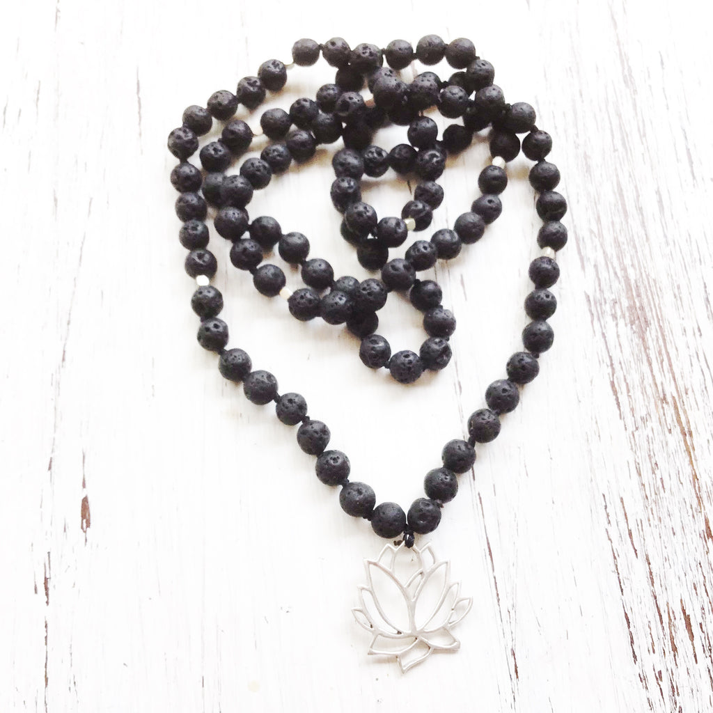Lava Mala Prayer Beads yoga necklace silver Lotus pendant