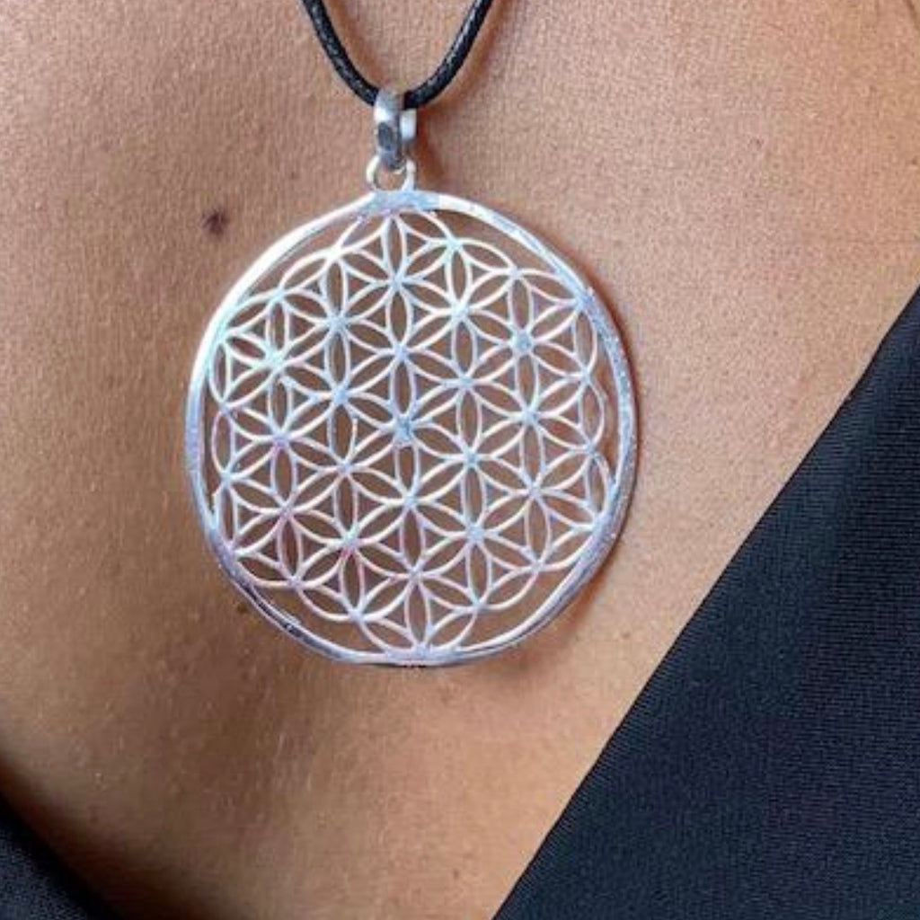Flower Of Life Necklace Large Sacred Geometry Silver Pendant