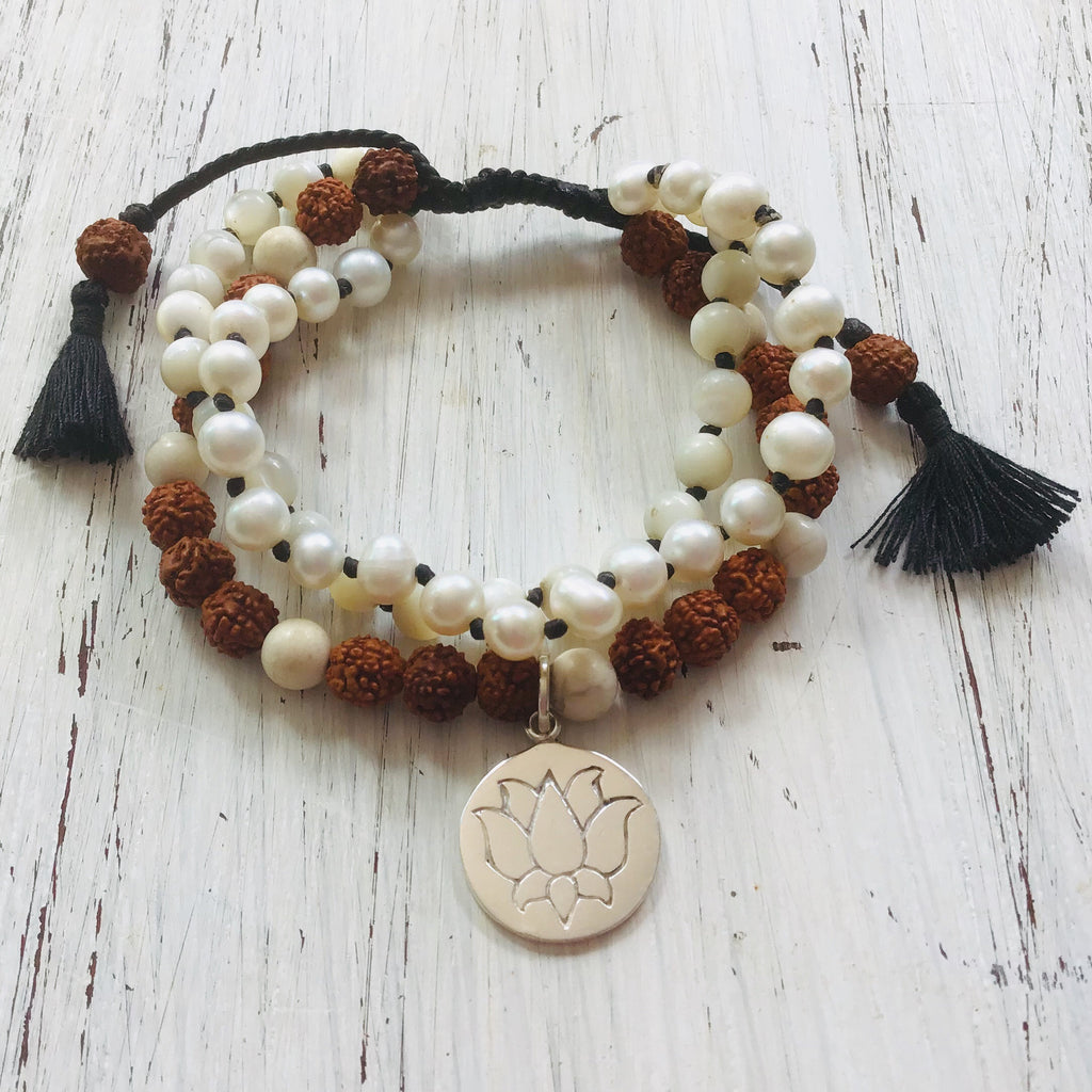 White Lotus wrist Mala Beads yoga bracelet set: Pearl, Mother of Pearl, Rudraksha