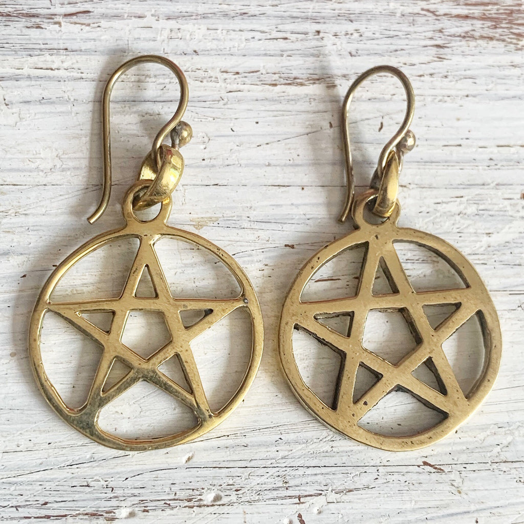 pentagram sacred geometry Brass earrings