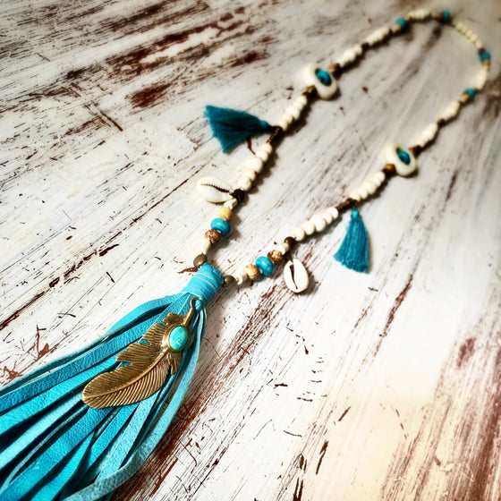 Feather Boho Mala Beads Yoga Necklace Turquoise gemstones