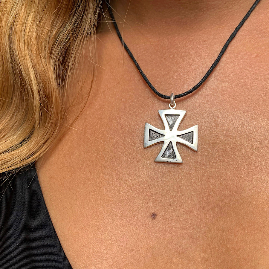 Maltese Cross Silver Pendant necklace
