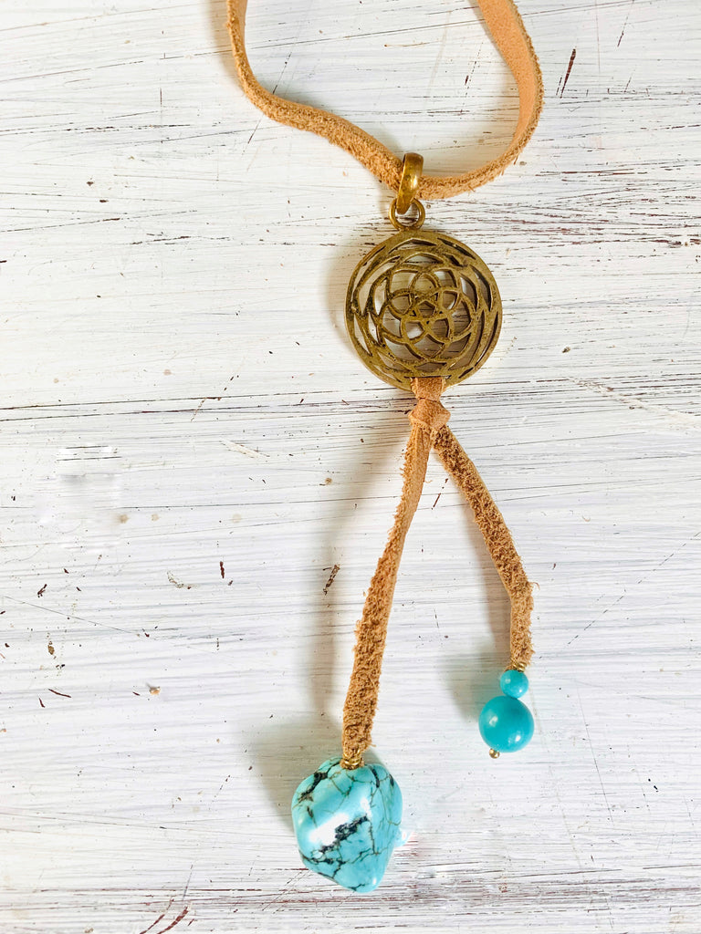 Brass Rose Of Venus & Turquoise Boho Suede necklace - Heart Mala