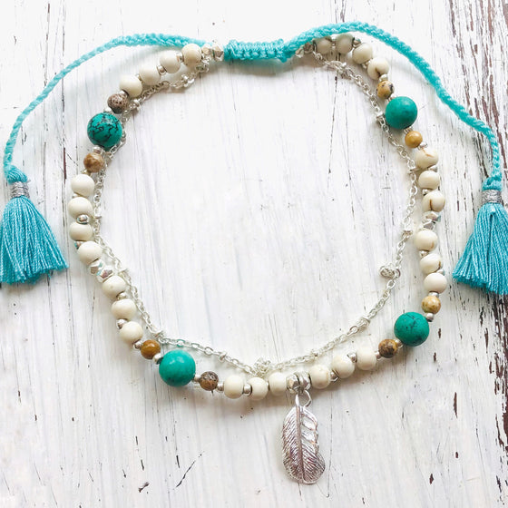 Feather Boho Gemstone Anklet, turquoise, jasper, howlite