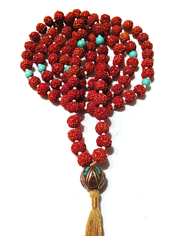 Mala prayer Beads yoga necklace handmade from turquoise, rudraksha & tibetan bead