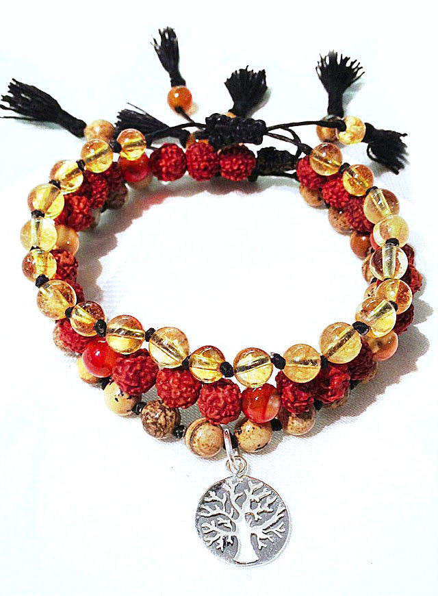 Tree Of Life wrist mala beads yoga bracelet set: Citrine, Carnerlian, jasper, Rudraksha