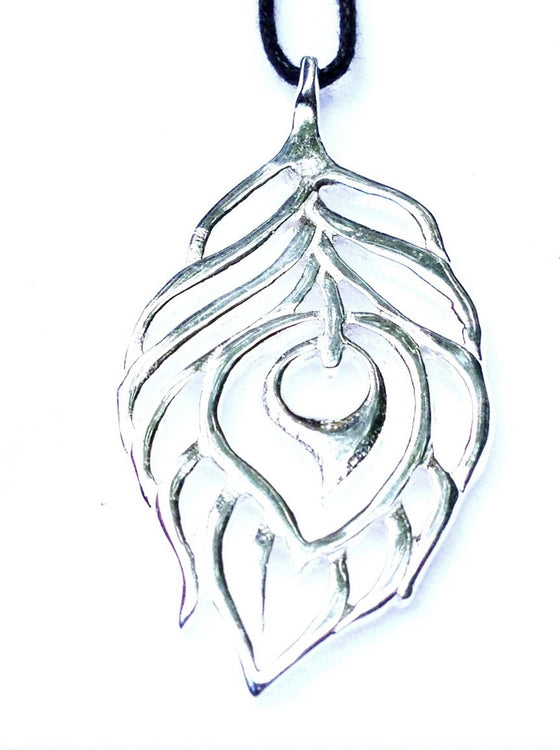 Peacock Feather Lg Silver Pendant - Heart Mala