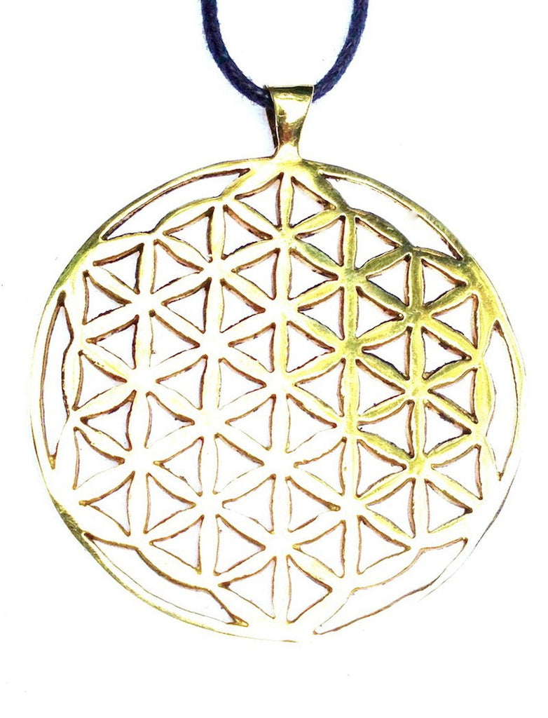 Flower Of Life Large Brass Pendant - Heart Mala Byron Bay