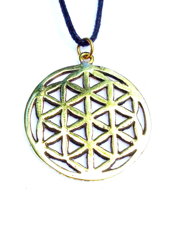 Flower Of Life Brass pendant - Heart Mala