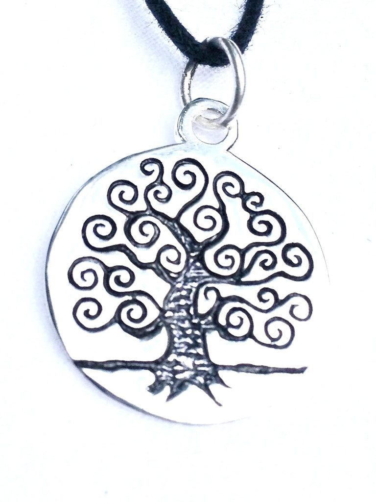 Curly Tree Of Life Silver Pendant - Heart Mala