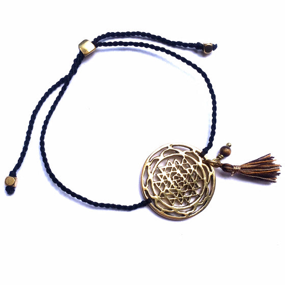 brass Sri Yantra charm bracelet with tigers eye - Heart Mala