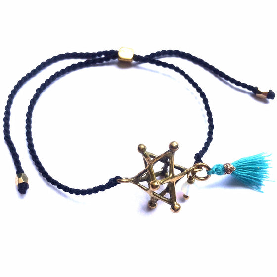 brass Merkaba charm bracelet with Moonstone - Heart Mala