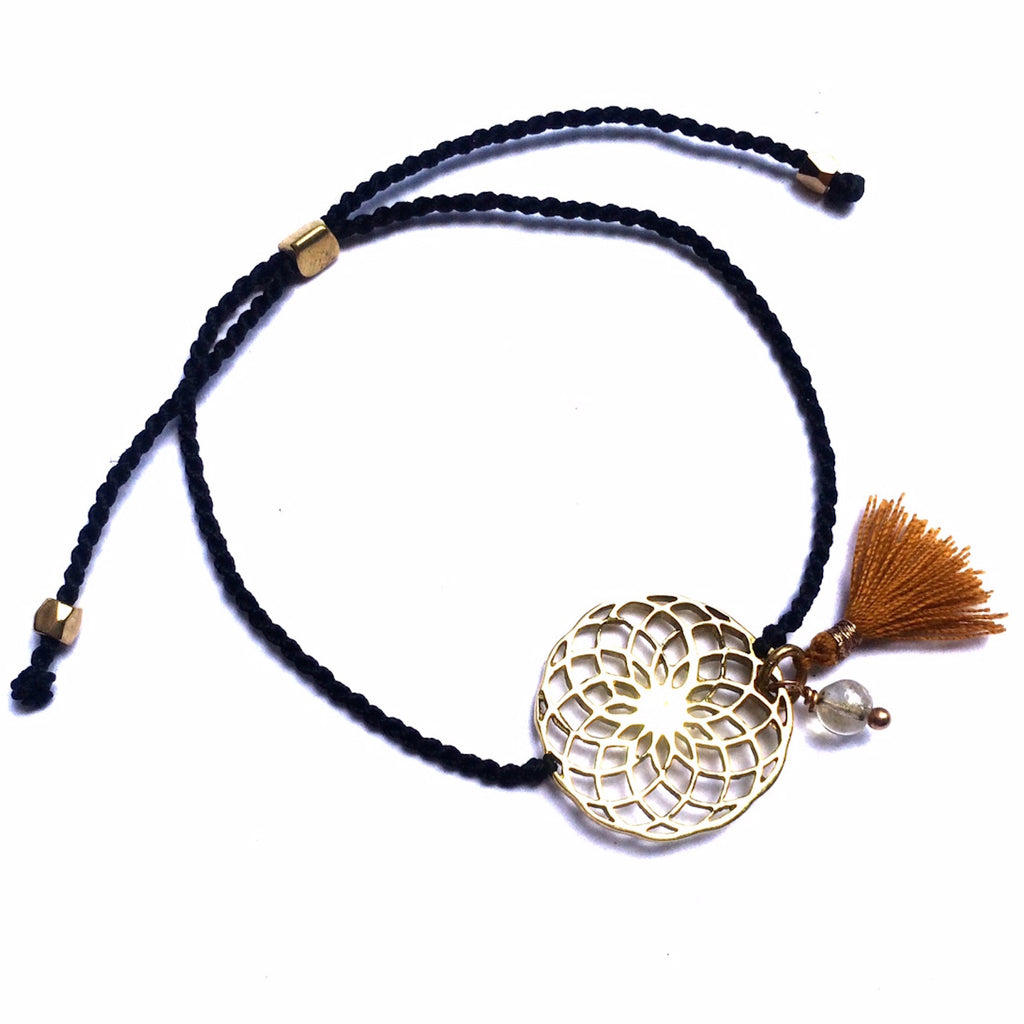 brass Sunflower charm bracelet with citrine - Heart Mala