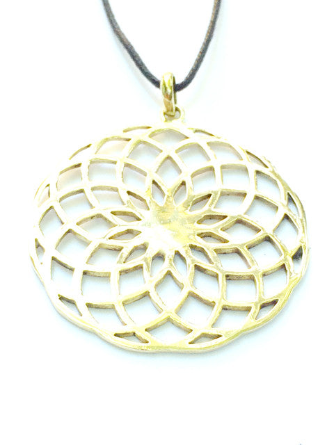 Sunflower Sacred Geometry Brass Pendant - Heart Mala