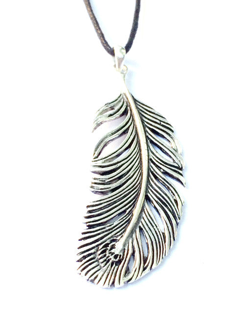 Peacock Feather Silver Pendant - Heart Mala