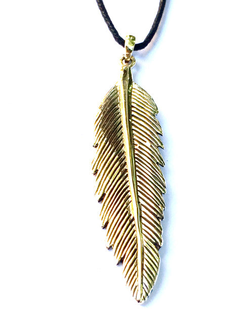 Feather necklace Brass Pendant Necklace