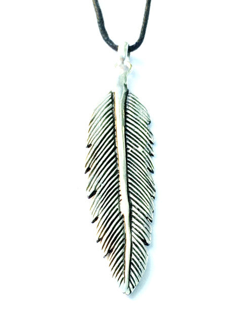Arrow Feather Silver Pendant - Heart Mala