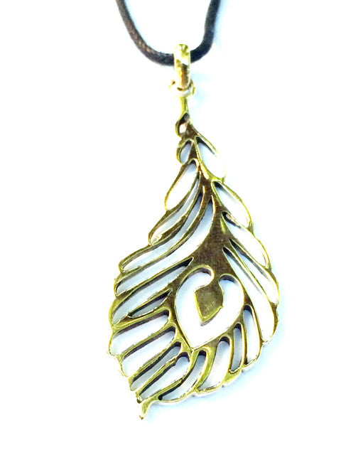 Peacock Feather Brass Pendant necklace