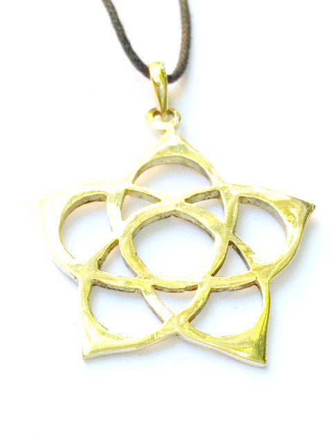 Flower Pentagram Brass Pendant - Heart Mala
