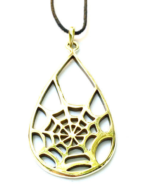 Spiders Web Brass Pendant - Heart Mala