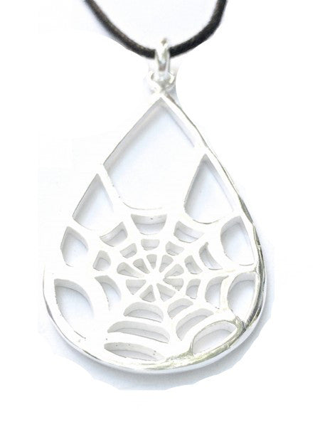 Spiders Web Silver Pendant Necklace