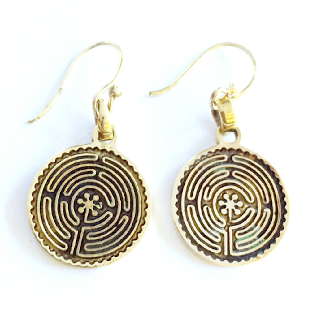 Labyrinth of Chartres Brass earrings - Heart Mala