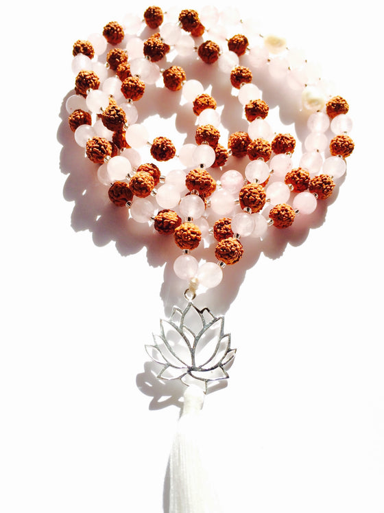 Mala beads yoga necklace of rose quartz, rudraksha with LOTUS pendant