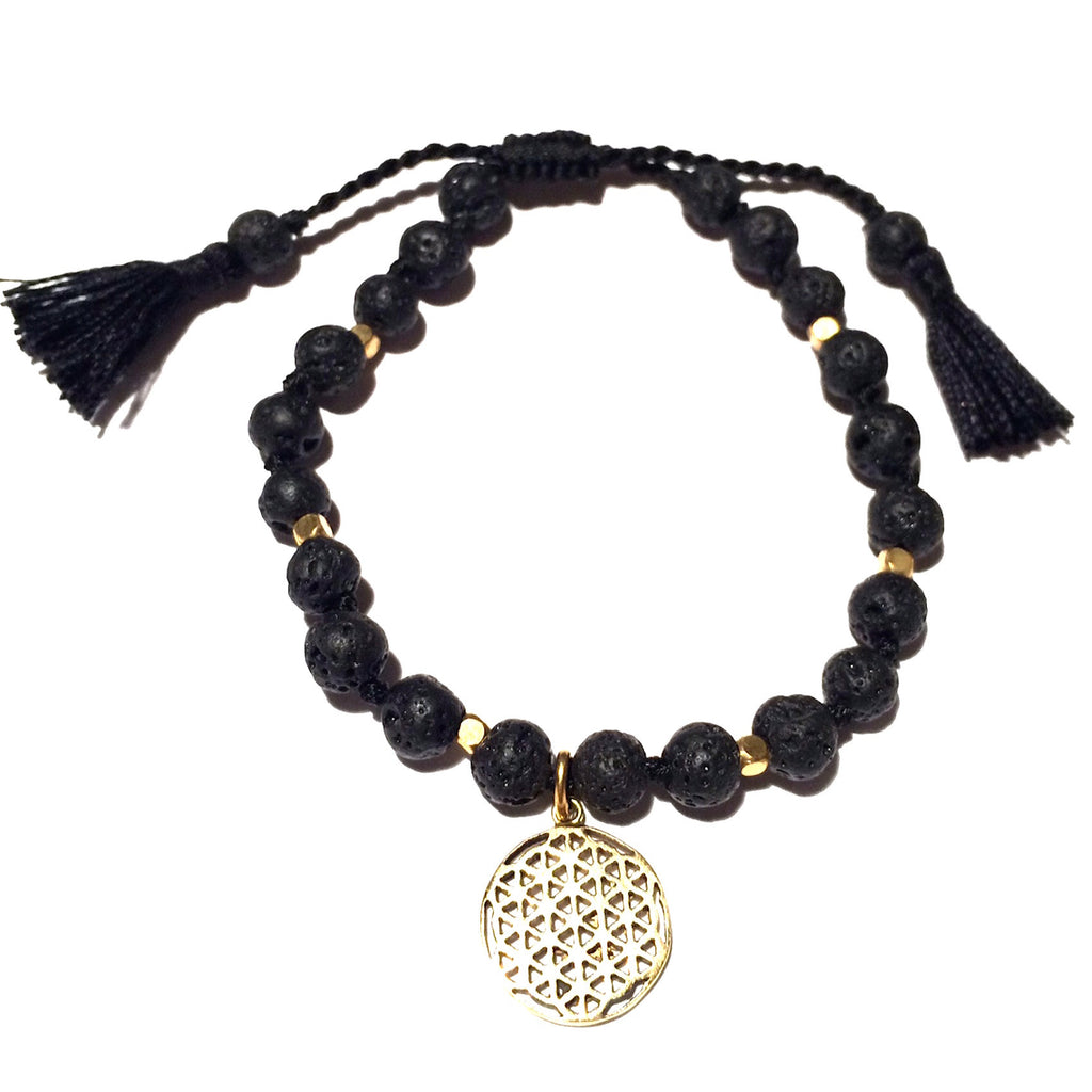 Lava Mala Beads Yoga Bracelet Brass Flower Of Life sacred geometry charm