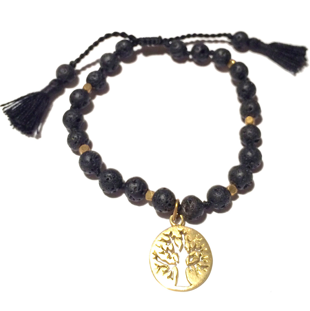 Lava Mala Bracelet Brass Tree Of Life - Heart Mala